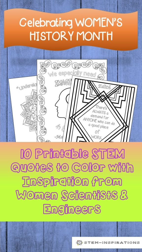 10 inspiration STEM quotes coloring pages for Women's History Month
